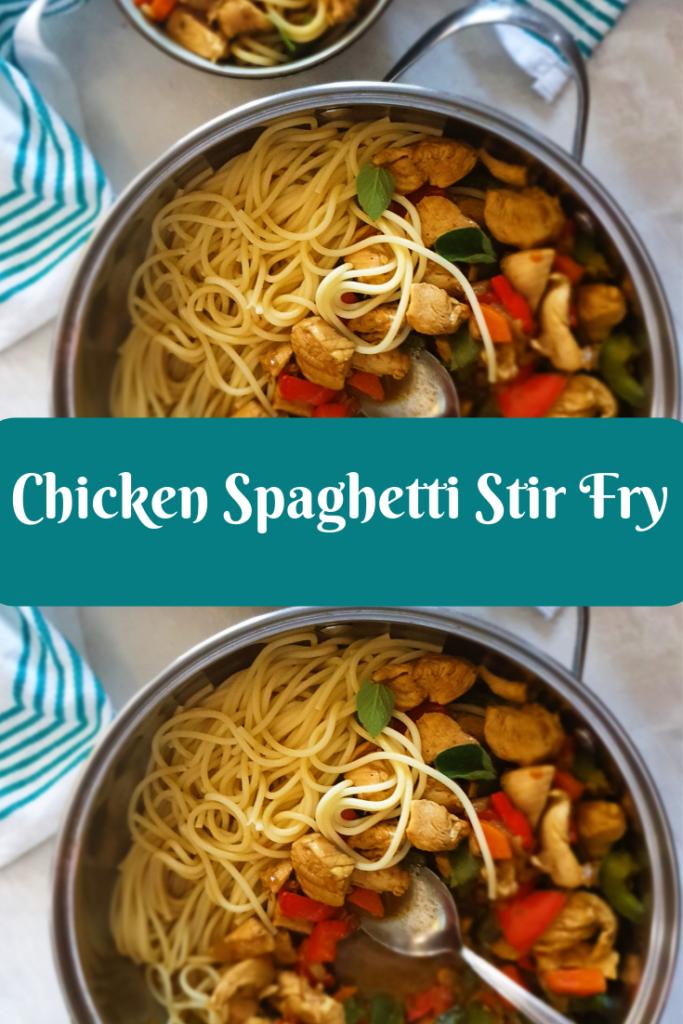 Delicious Chicken Spaghetti Stir Fry With Vegetables My Anosmic Kitchen Recipe Yummy Chicken Recipes Yum Yum Chicken Chicken Spaghetti