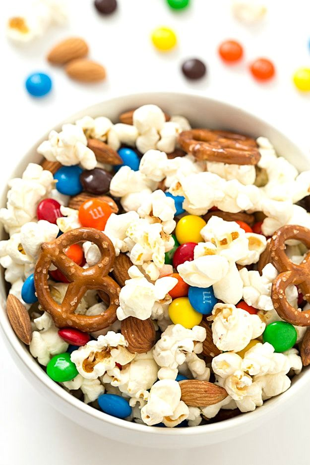 Salty And Sweet Popcorn Snack Mix Gal On A Mission Recipe Party Mix Recipe Snack Mix Popcorn Snacks Mix