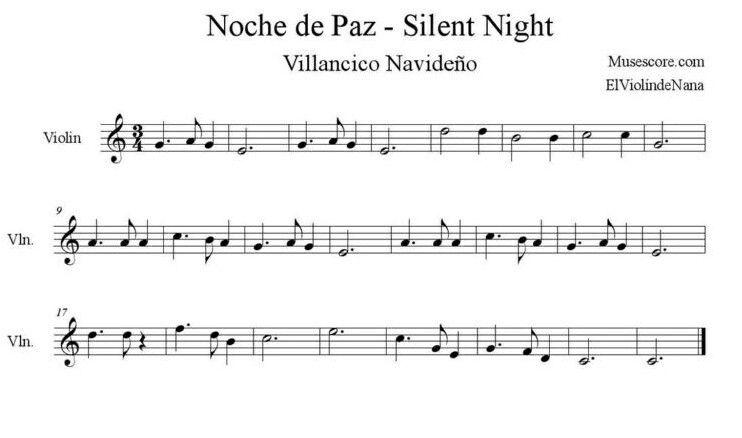 Noche De Paz Para Violín Silent Night For Violín Partituras Violines Musica Instrumentos