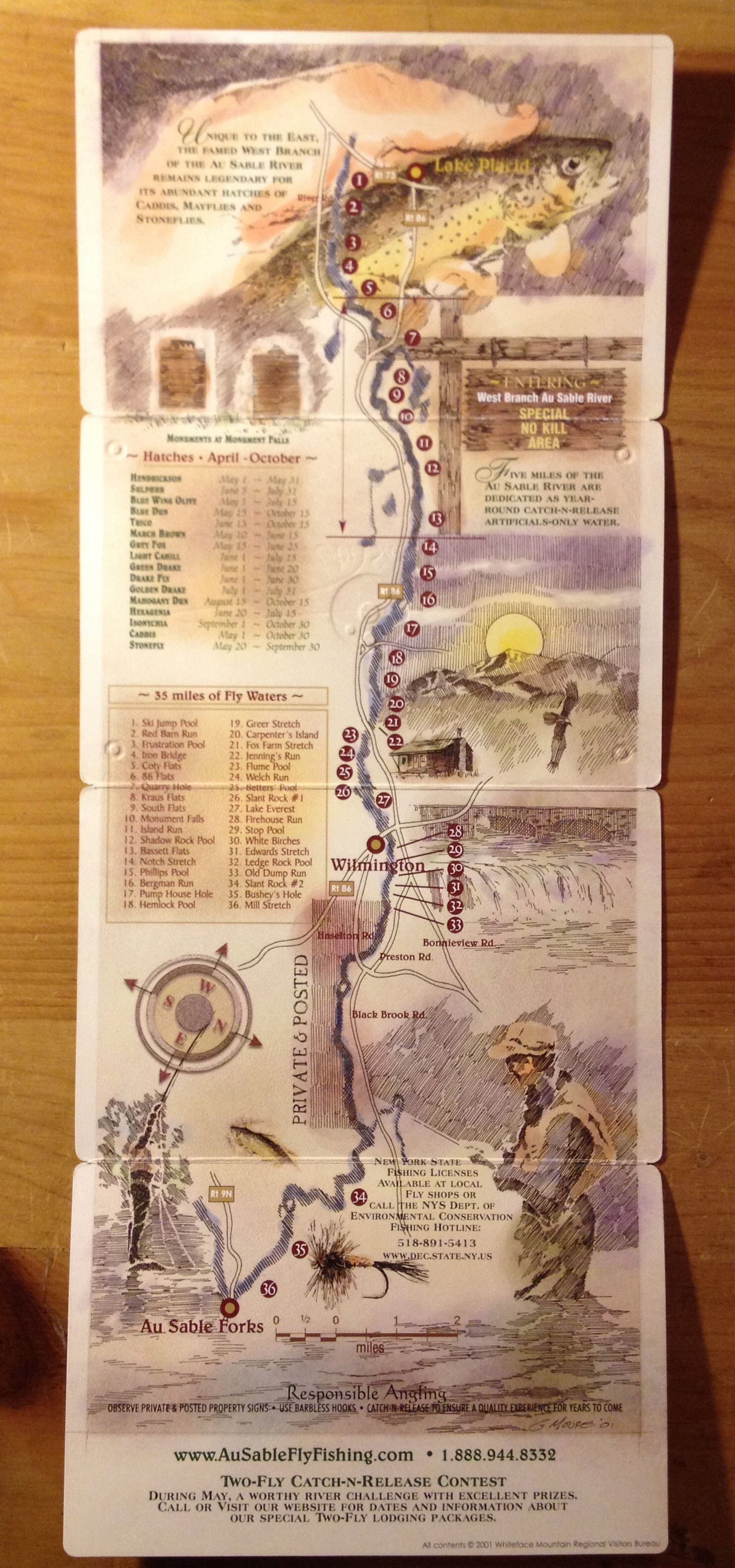 anyone remember these such a great little map of the famed west branch of the ausable river fishing maps fly fishing lake george ny fishing maps fly fishing lake george ny