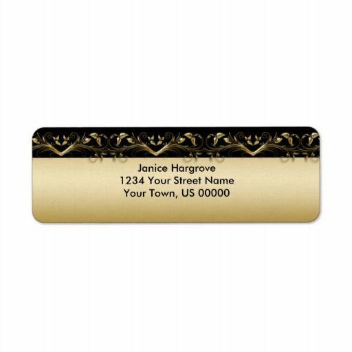 Vintage Black and Gold Return Address Label