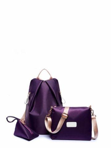 edb8a825e9abb إشتري طقم حقيبة ظهر نسائية (3 قطع) - بتصميم ساده عملي مقاوم للماء ...