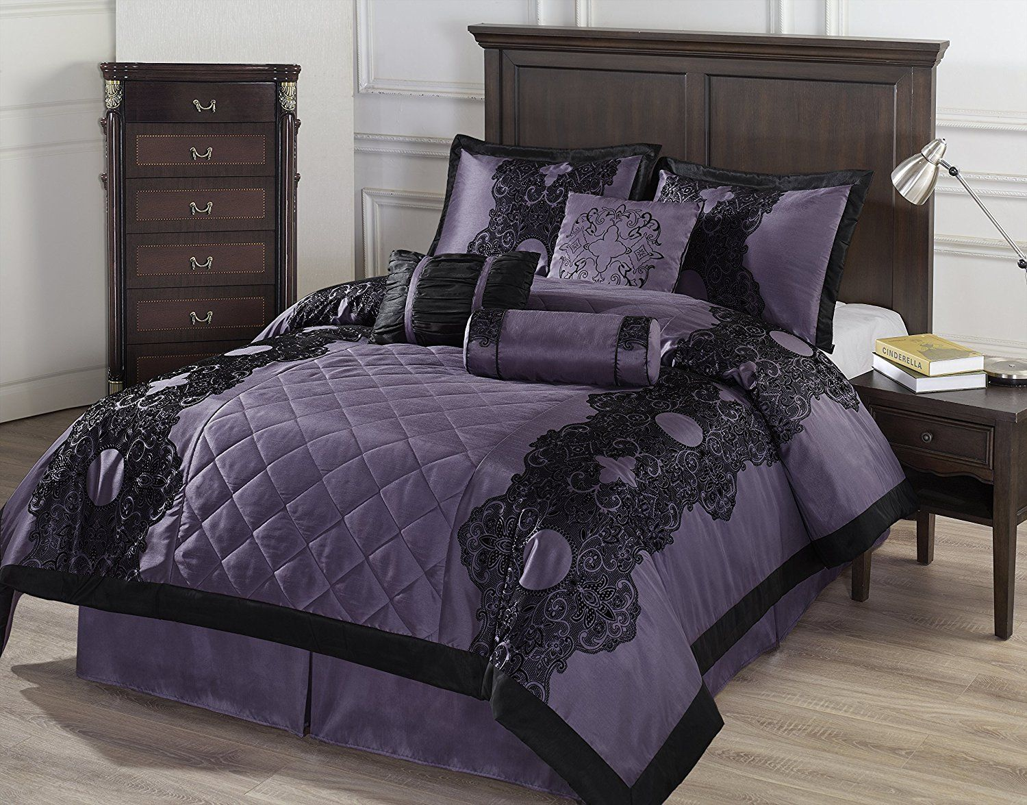 Black And Purple Dorm Bedding Comforter Sets Bed Linens Luxury
