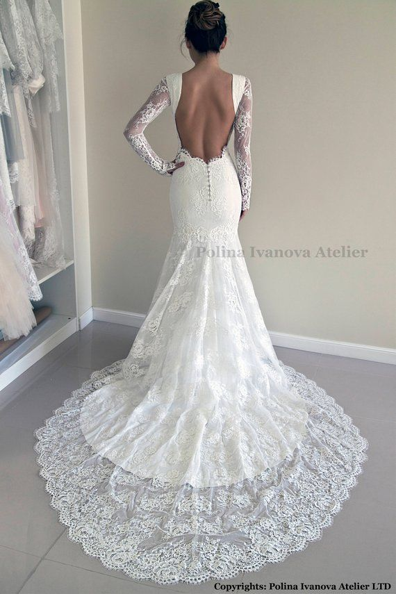 Lace Wedding Dress, Custom Made Wedding Dress, Trumpet Silhouette Wedding Dress, Open Back Lace Dress, Hourglass Silhouette Wedding Gown Lace Wedding Dress, Custom Made Wedding Dress, Trumpet Silhouette Wedding Dress, Open Back Lace Dress, Hourglass SIlhouette Wedding Gown Wedding Gown trumpet wedding gown