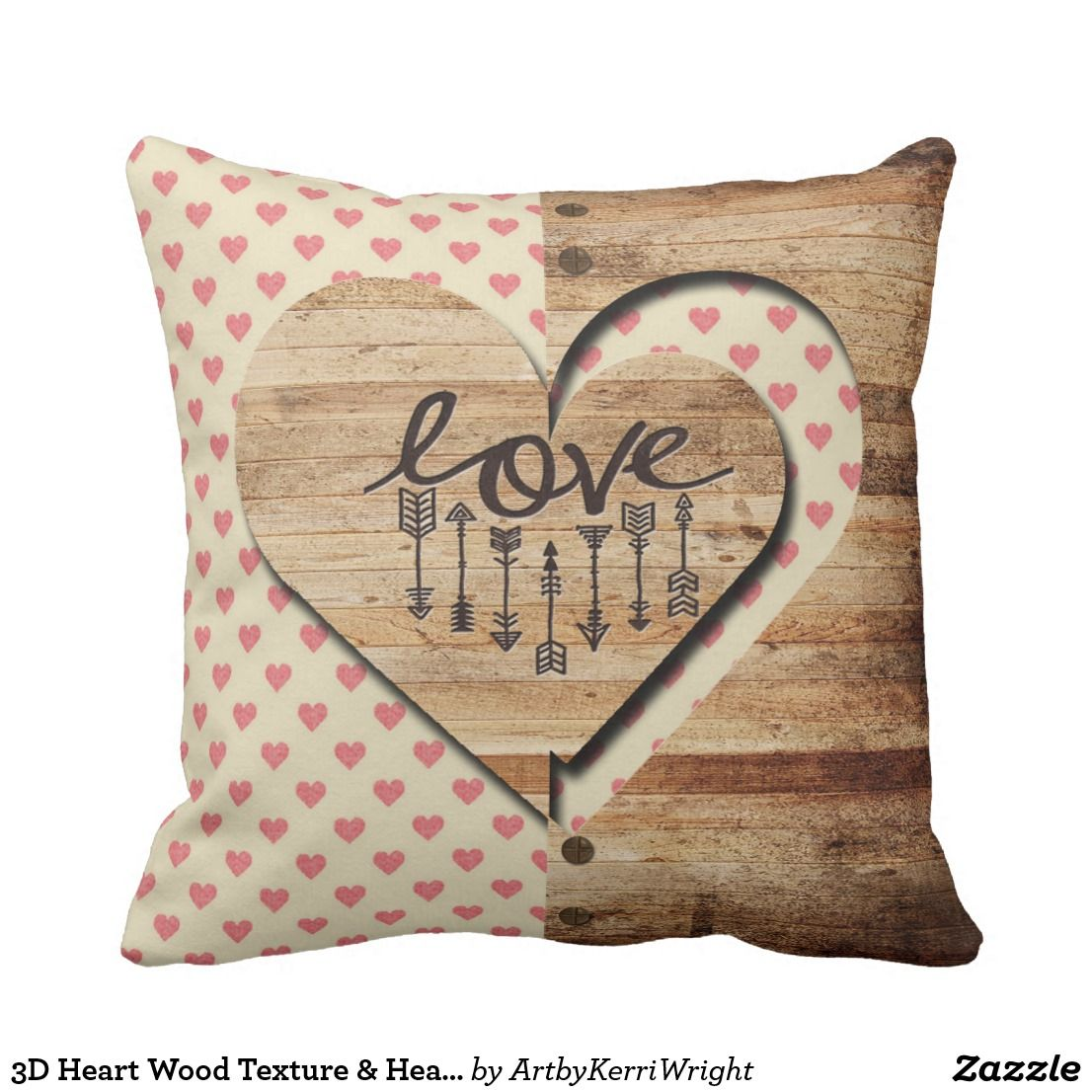 D heart wood texture u hearts print pattern throw pillow print