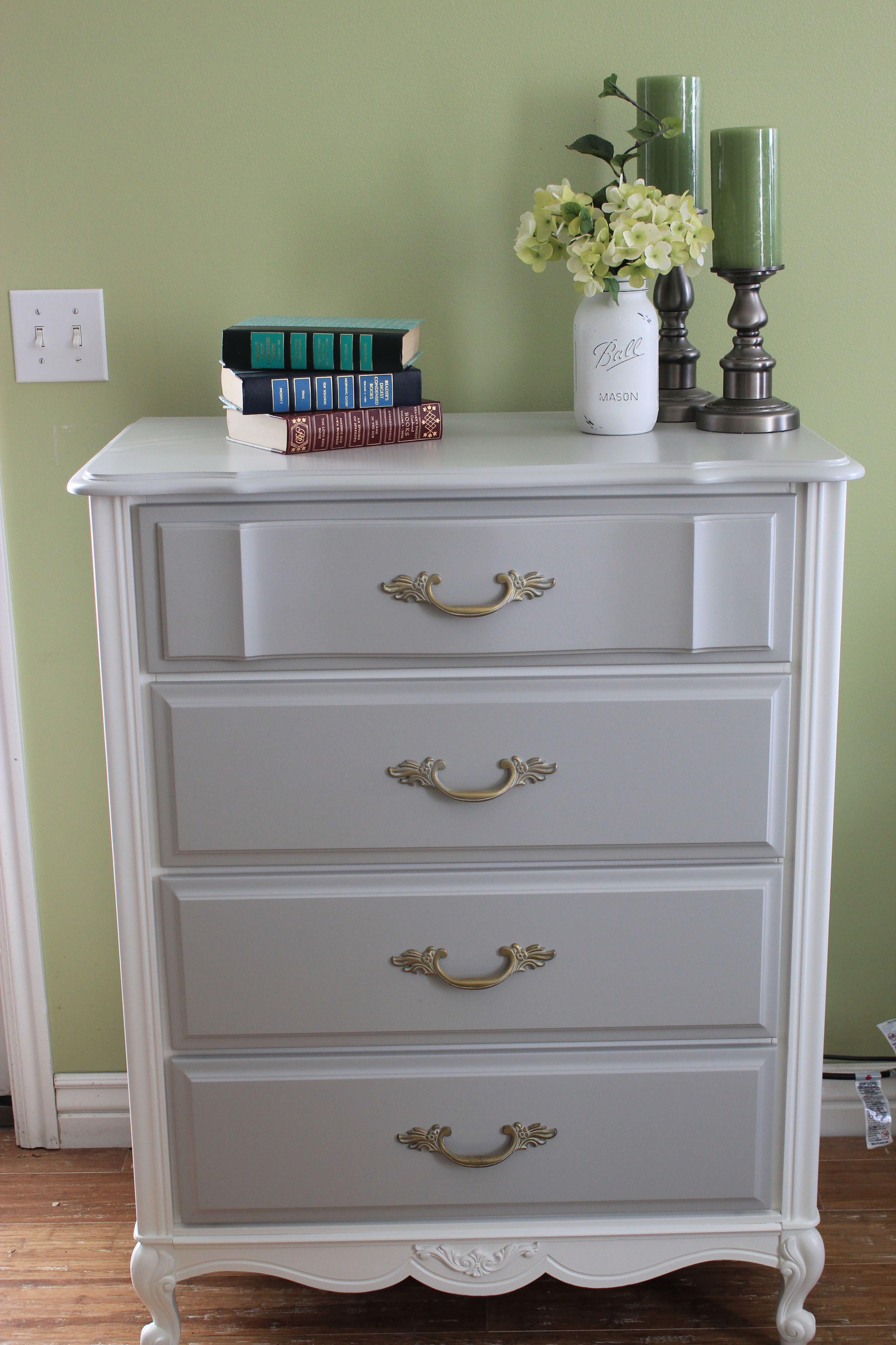 French Provincial Tall Boy Painted White And Grey Painted French Provincial Furniture French Provincial Dresser Makeover White Painted Dressers [ 5184 x 3456 Pixel ]