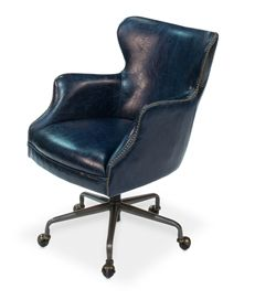 Navy Blue Leather Upholstered Rolling Desk Chair