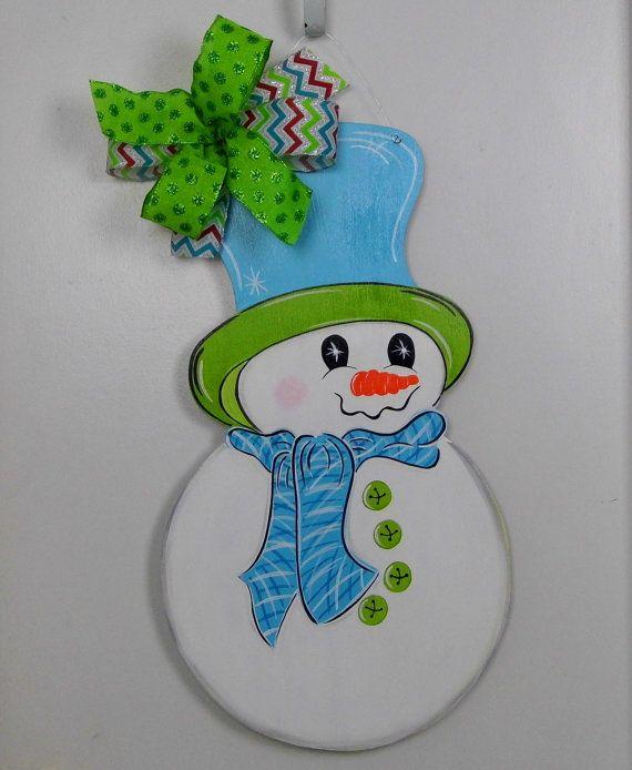 Photo of Snowman Door Hanger, Christmas Door Hanger, Winter Door Hanger,Wooden Door Hanger, Front Door Decor