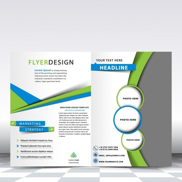 blue and green brochure template free vector
