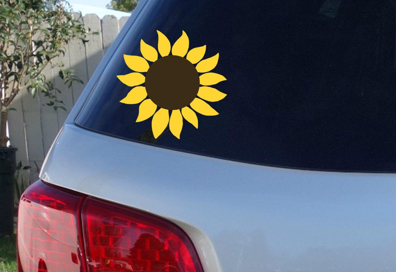 Sunflower Car Window Decal Flower Car Window Decal Flowers Etsy Flower Car Preppy Car Accessories Car Window Decals [ 1032 x 1500 Pixel ]