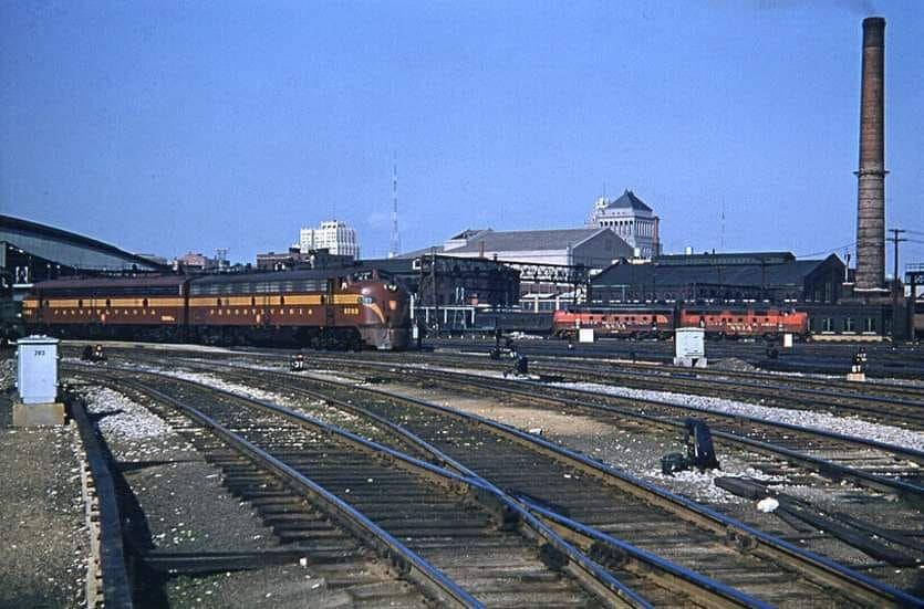 Pennsylvania railroad passenger train at union station in