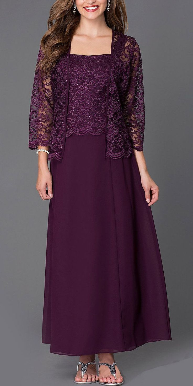 Langes Chiffon- Kleid für die Brautmutter aus Spitze und 3 ...