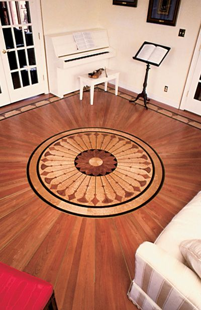 Details about 1999 Wood Floor of the Year winner Sunshine Flooring Company - Hickory Wood Floor With Border & Medallion From Www