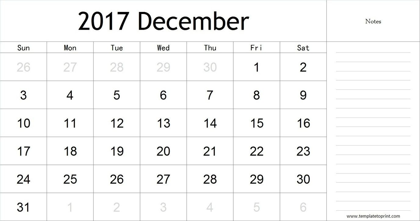 December  Calendar With Notes Pdf Blank Calendar Template