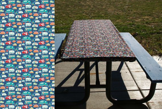 Camping Table Cover Elastic Table Cloth For Picnic Table /& Folding Table Gray Picnic Tablecloth