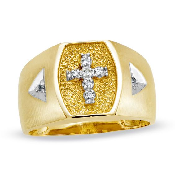 Men S Diamond Accent Cross Ring In 10k Gold 10k Gold Ring Size 10 Rings Diamond