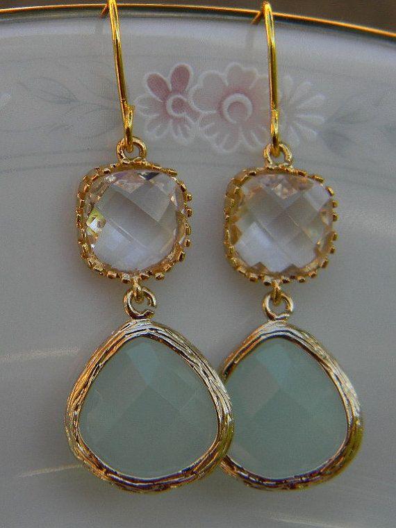 Clear Aqua MInt Earrings in GoldBrideBridalWedding by Greenperidot, $26.50