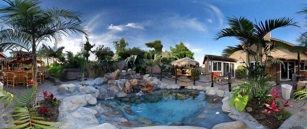 Huntington Beach Polynesian backyard | Garden furniture ...