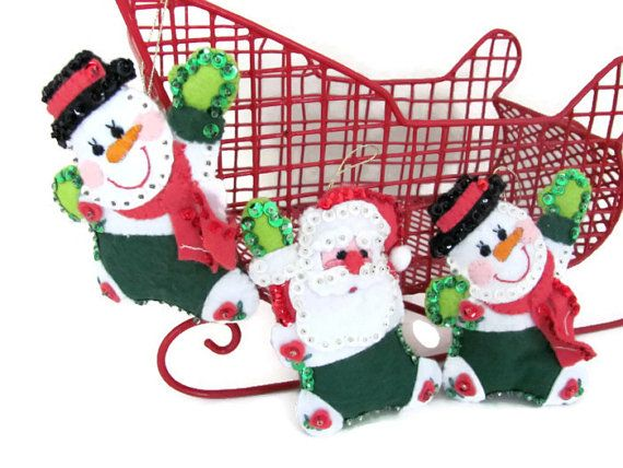 Vintage Christmas Felt Ornaments Bucilla by ThirstyOwlVintage