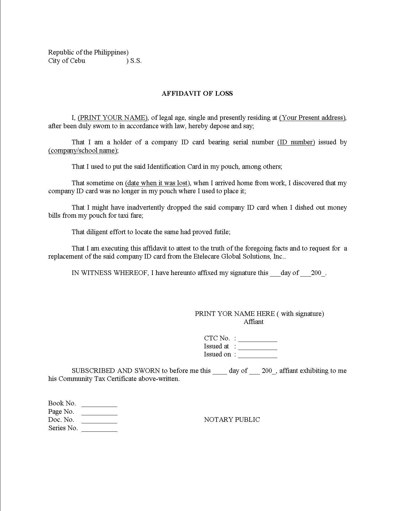 Sample Last will and testament of form – Affidavit of Support Letter