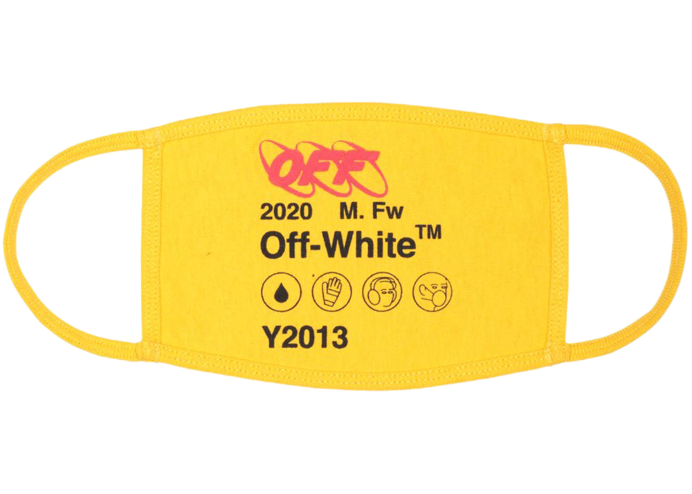 Off White Logo Face Mask Yellow Black In 2021 Fashion Face Mask Face Mask Fashion Face