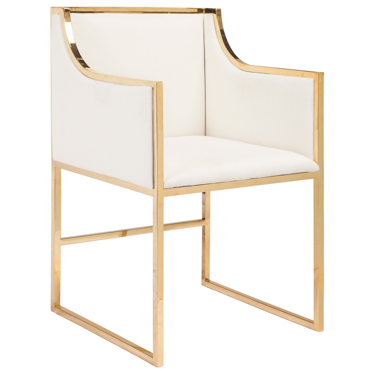 Worlds Away Anabelle White with Brass Chair