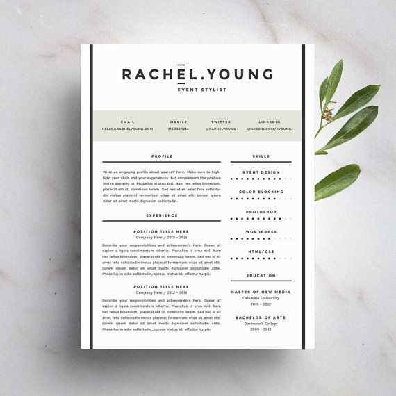Modern Resume Template and Cover Letter Template for Word DIY - sophisticated resume templates