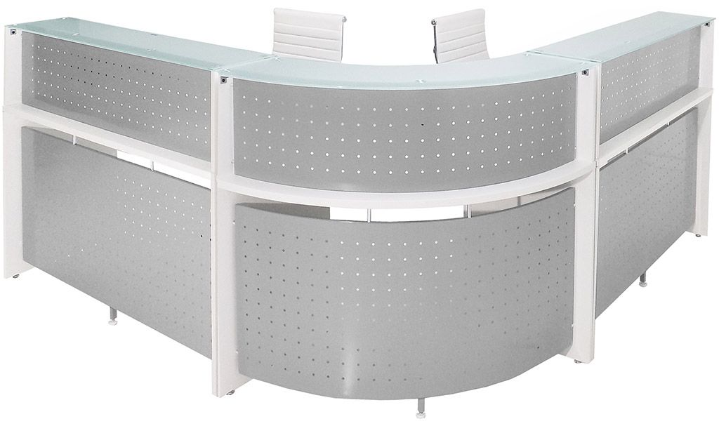 White Curved L Shaped Gl Top Reception Desk