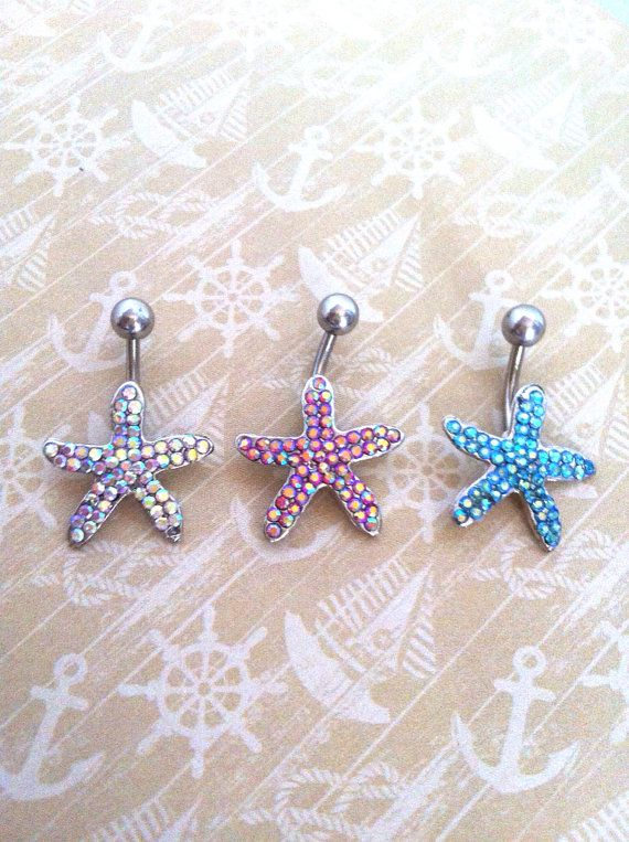 Rhinestone Starfish Belly Button Ring on Etsy, $5.00