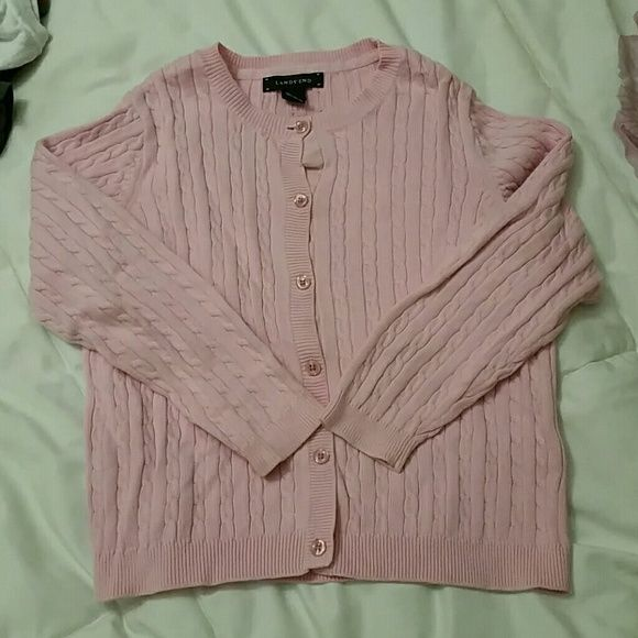 Girl's cardigan sweater 100% cotton girl's cardigan sweater.  Gently worn, in perfect condition. Lands' End Shirts & Tops Sweaters