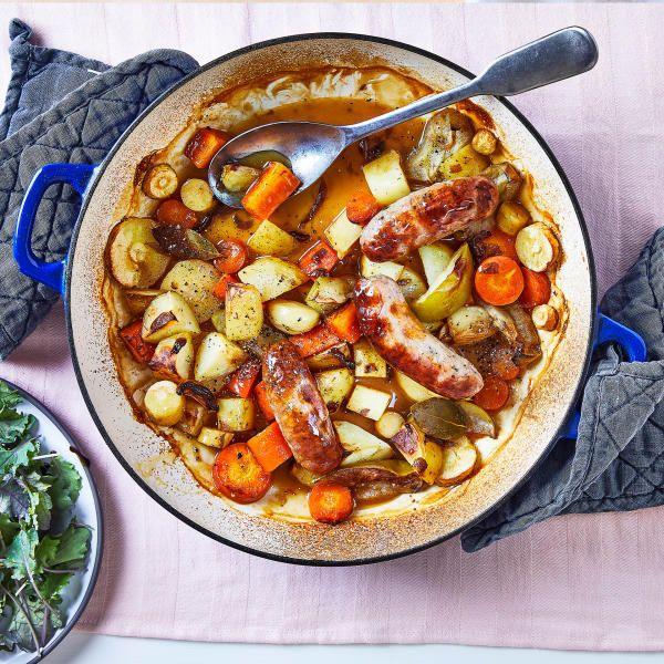 Simple Sticky Sausage, Apple & Root Veg Bake Recipe ...