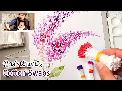 Cotton swabs painting technique for beginners basic easy for How to paint a rose in watercolor step by step