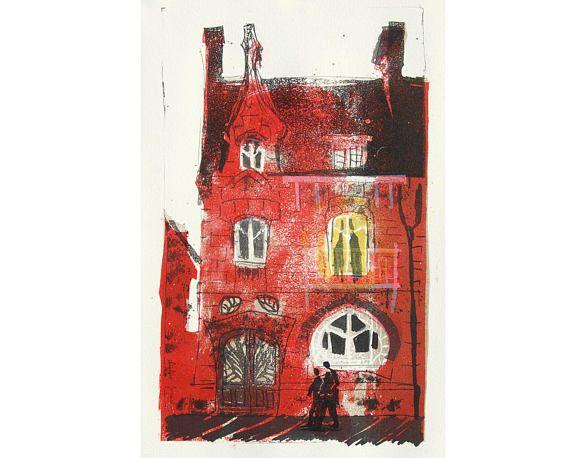 Peinture lithographie originale d\u0027une façade de maison Art Cadeau