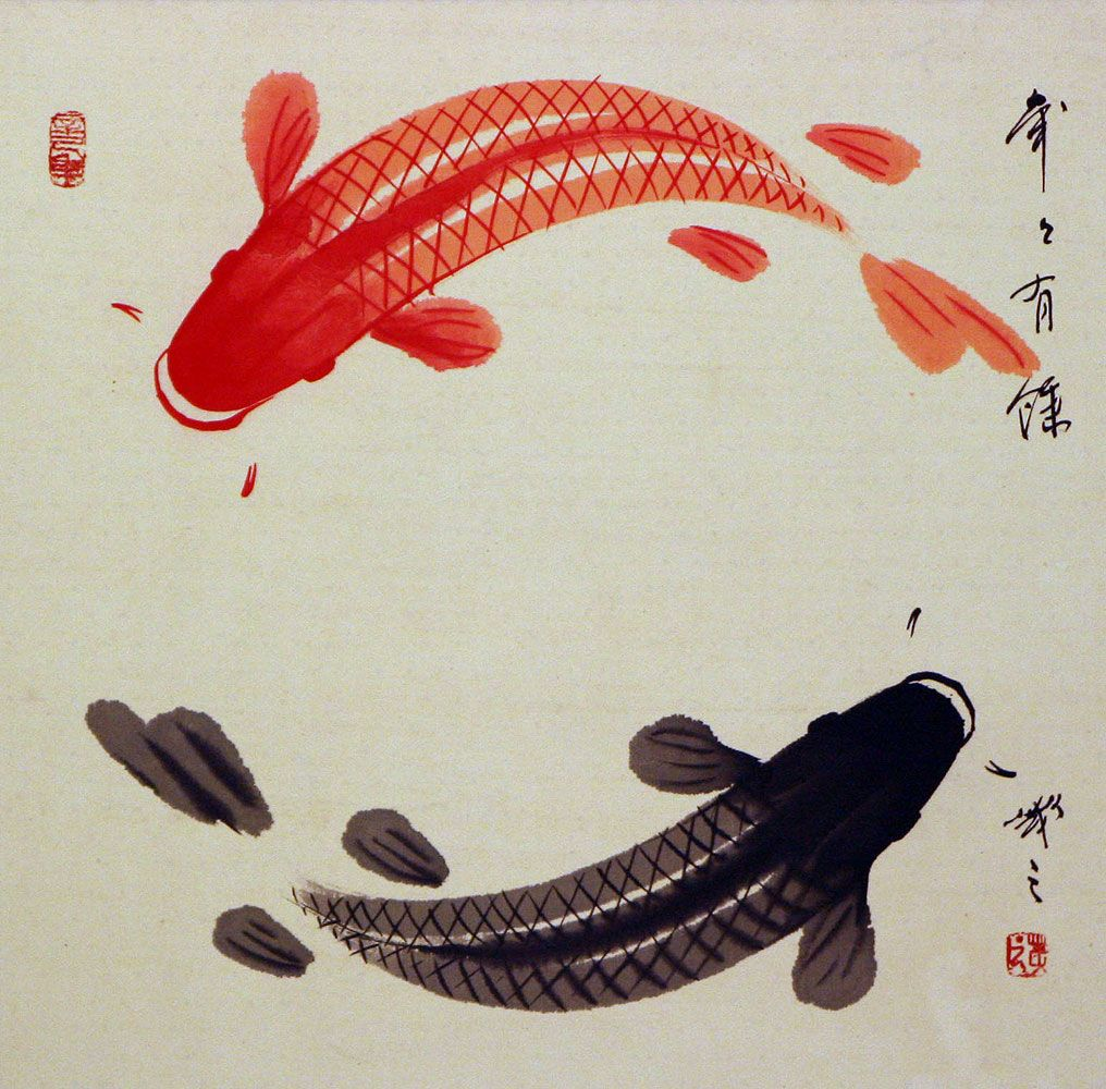See huge image of this painting cranes koi pinterest for Yin and yang koi fish