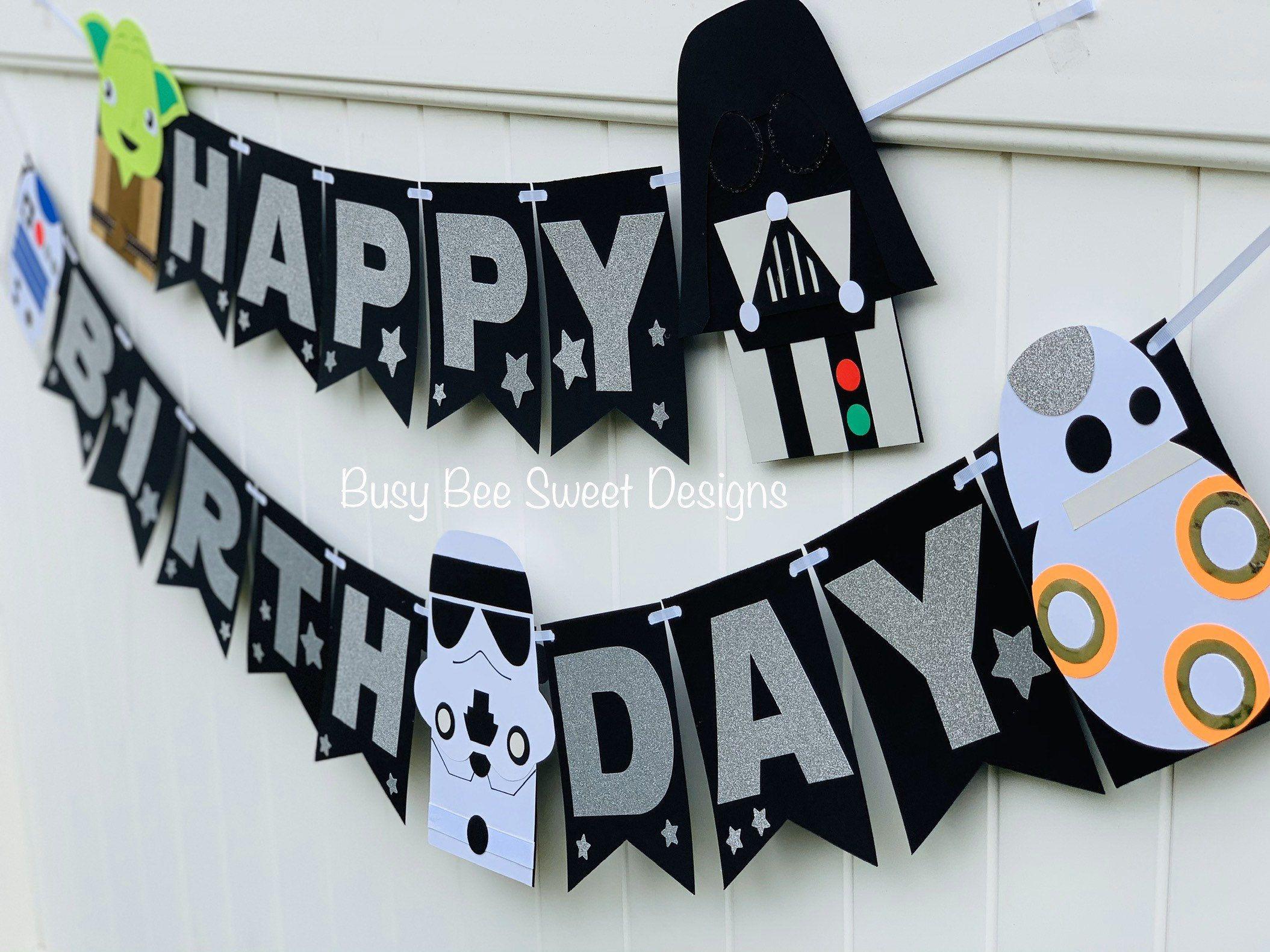Star Wars Happy Birthday Banner Star Wars Birthday Party Star Wars Party In 2021 Star Wars Happy Birthday Star Wars Birthday Party Star Wars Party
