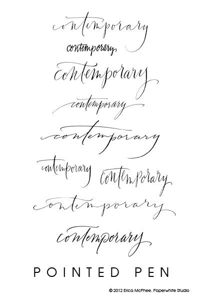 Contemporary calligraphy by erica mcphee paperwhite studio for Flowy tattoo fonts