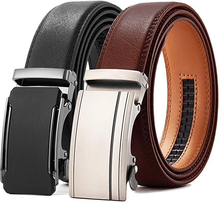 Mens Genuine Leather Ratchet Belt Black Dress Belt with Automatic Buckle 1 3//8 Wide Gift Box