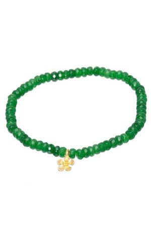 Don't AsK Green Jade Gold Plated Charm Bracelet