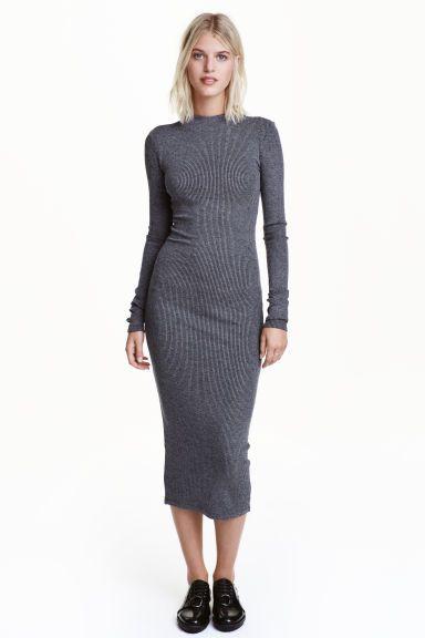 Ribbed Jersey Dress Dark Grey Marl Ladies H M Gb Robe En Jersey Idees Vestimentaires Robes Modestes