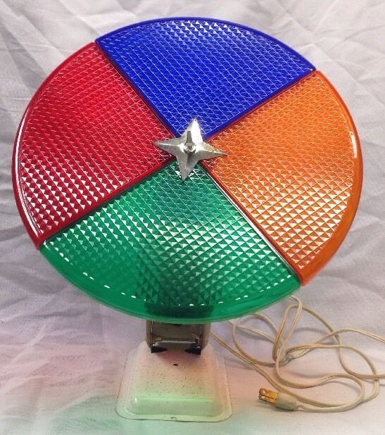 Silver Tinsel Christmas Tree With Color Wheel: VINTAGE 50's PENETRAY ROTATING 4 COLOR WHEEL LIGHT