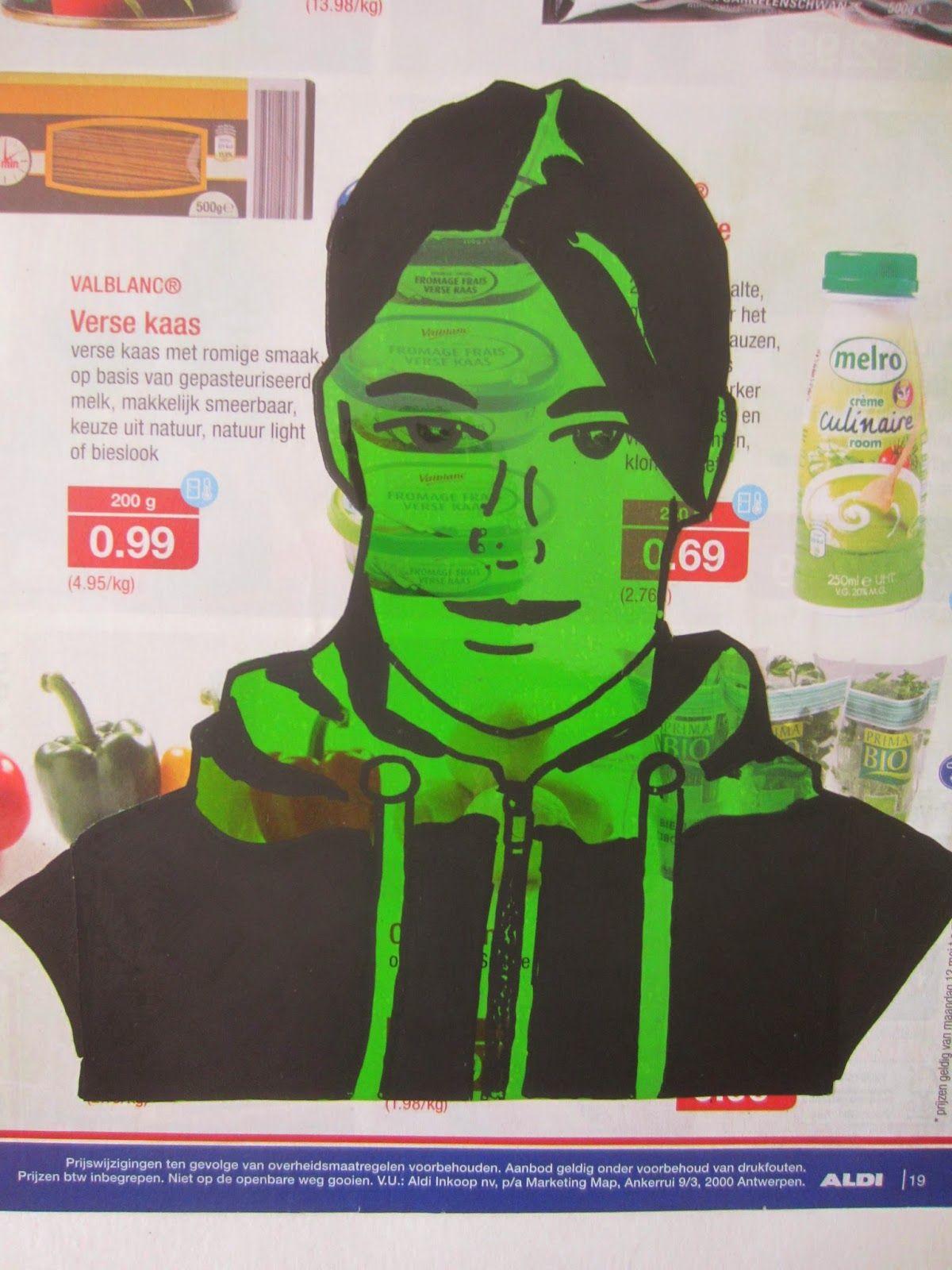 Verwerking zelfportret - stickervel en verfstift op reclamefolder
