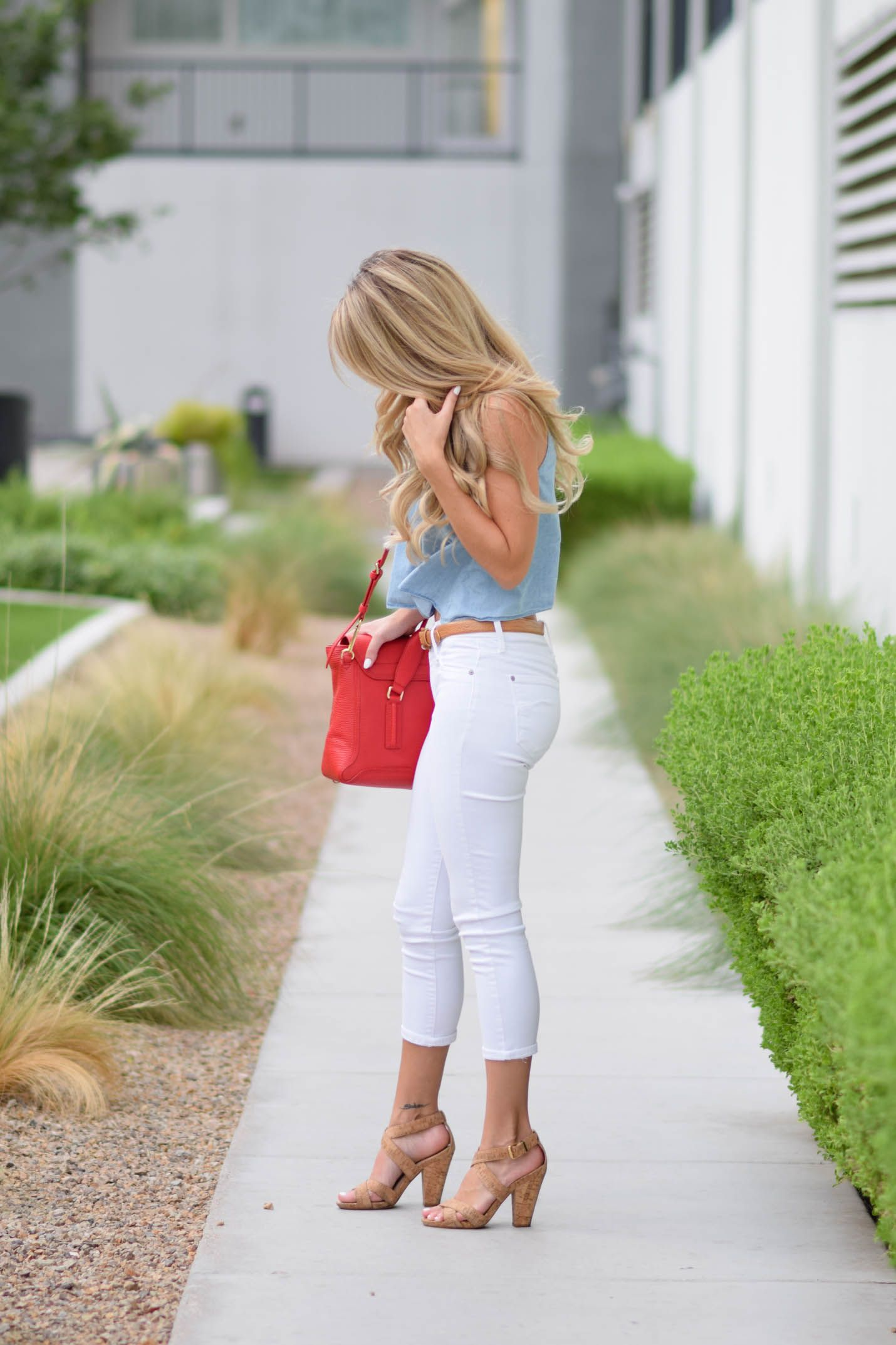 fourth of july outfit chambray white and red