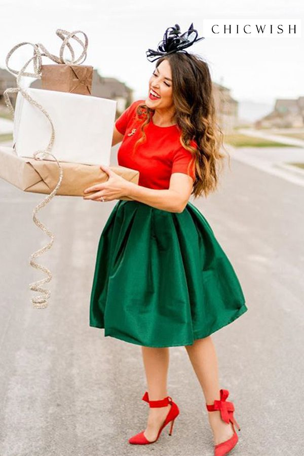 Sweet Red Wool Mini Skirt with Pockets  Winter Wool Skirt  Christmas Skirt  Holiday Party Skirt  Gift for Daughter  Gift for Girlfriend