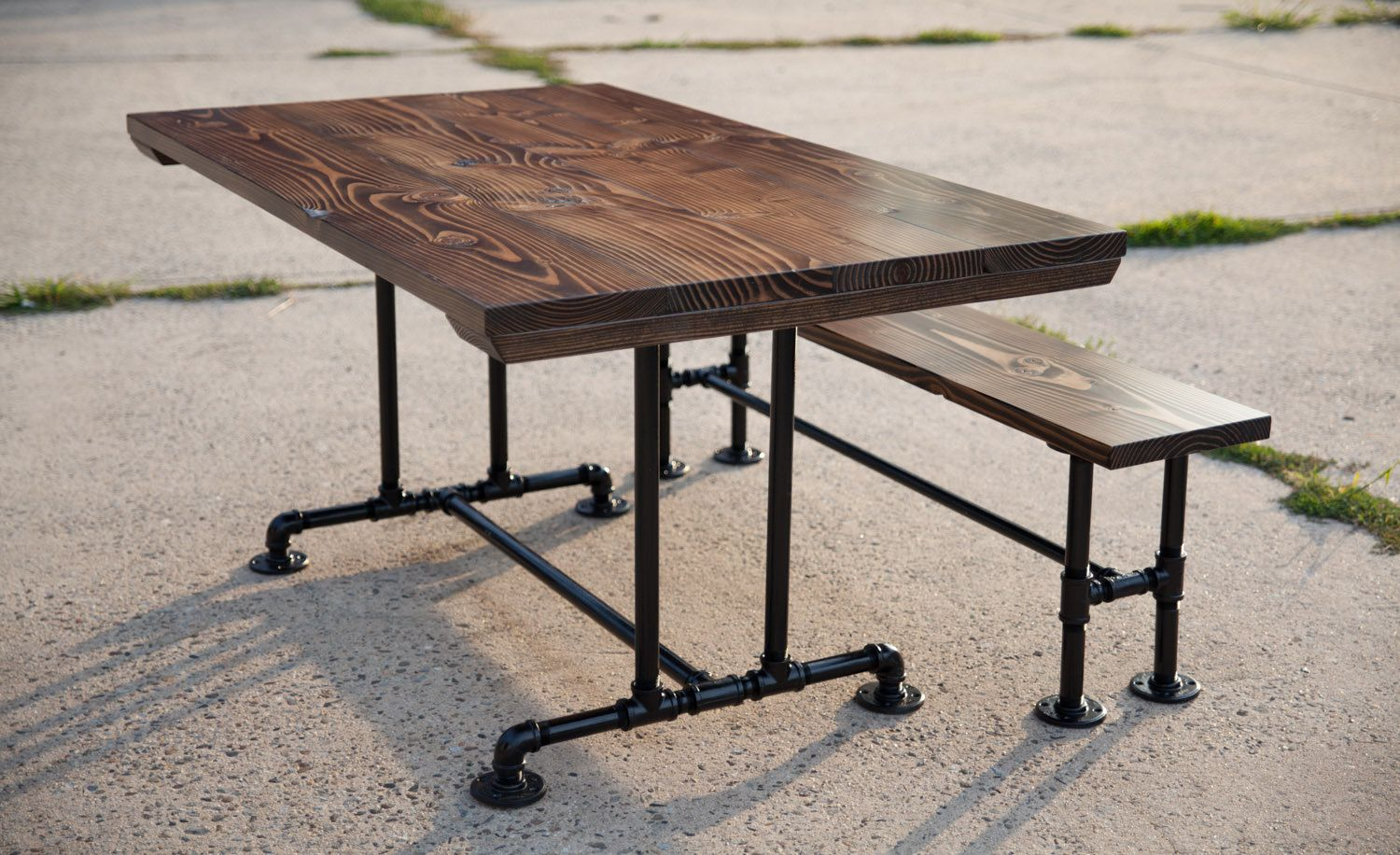 industrial style outdoor furniture. 5ft Industrial Style Farmhouse Table | Dining With Metal Pipe Base Kitchen Outdoor Furniture