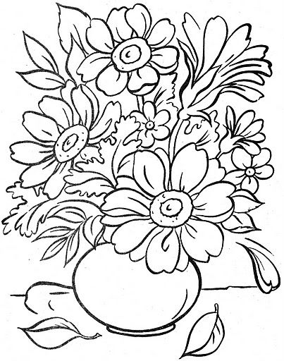 Riscos De Vasos Jarros E Xicaras Com Flores Esbocos De Flor