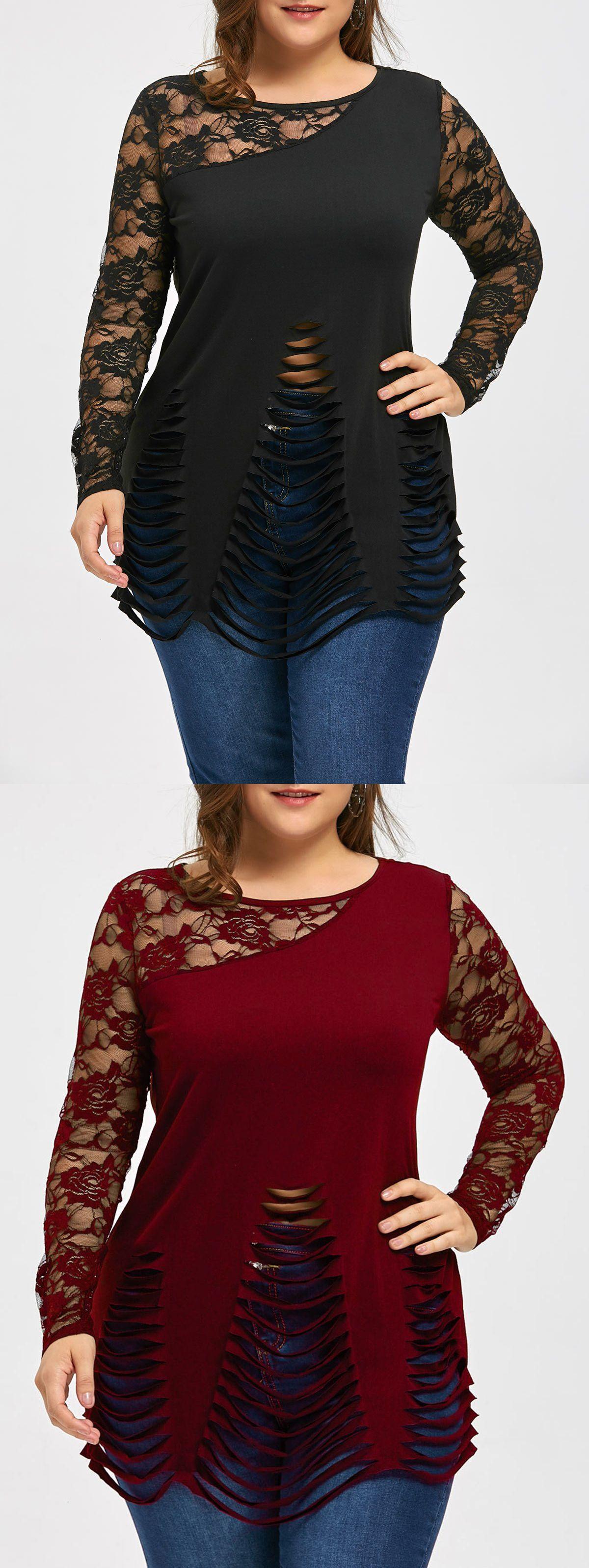 45678a0f419ab4 Wholesale Plus Size Lace Trim Ripped Top 5xl Black Online. Cheap Lace Trim  Top And Plus Size Jackets on Rosewholesale.com