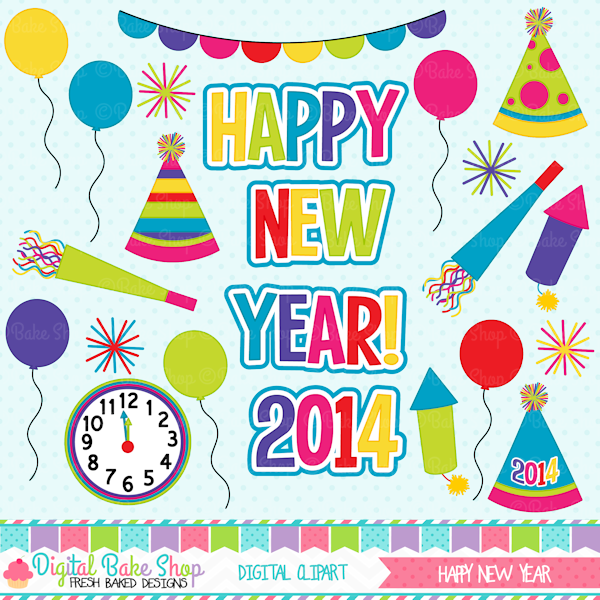 happy new year this clipart set is perfect for your new years projects and crafts