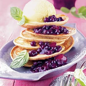 Buckwheat Pancakes with Wild Blueberry Apple Compote