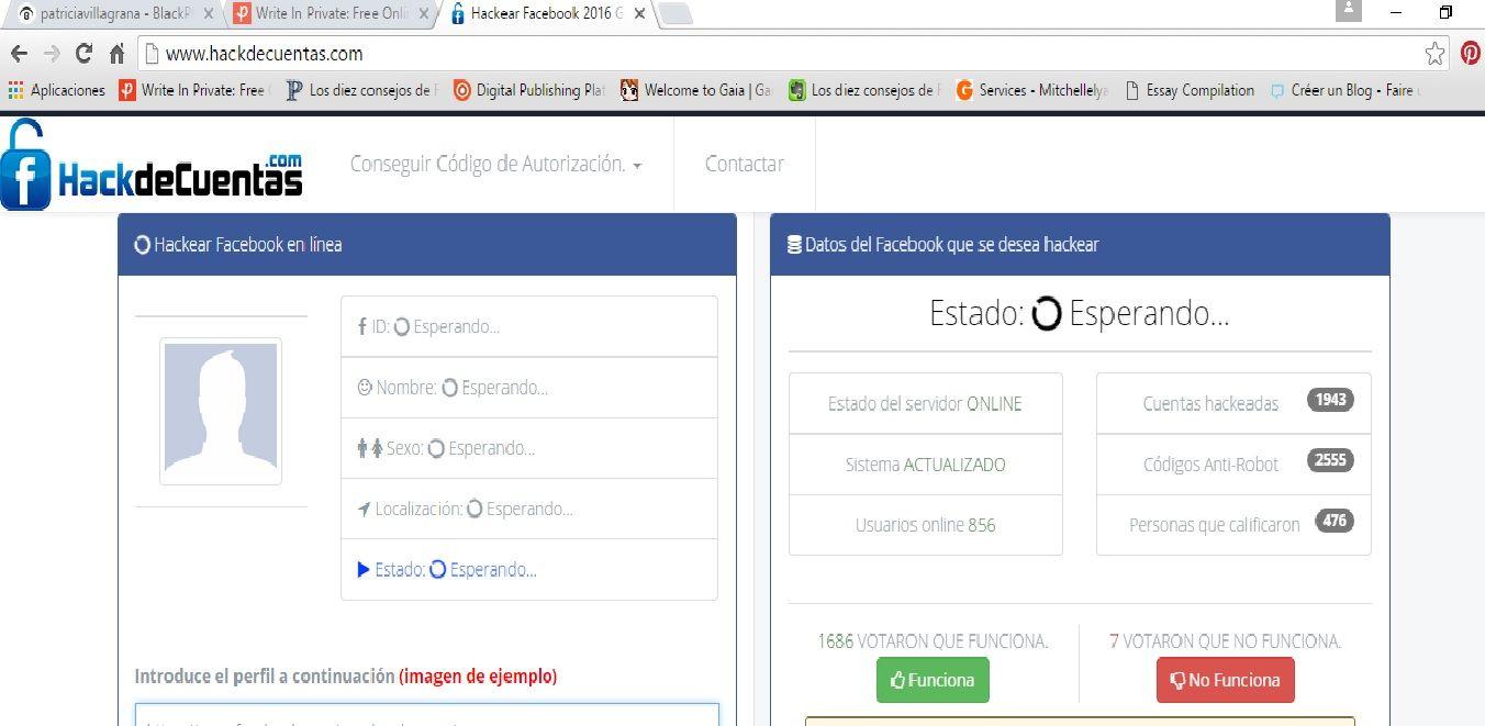 """http://www.hackdecuentas.com Entra a un servidor ya sea internet o google Chrome. Ingresa el link de la página en el servidor de la url. Introduce el perfil de tu victima donde se te indica. Escoge cual opción utilizaras para obtener la información si """"Aquí"""" o bien """"referidos"""", tómese en cuenta que ambas funcionan asi que elige la que tú quieras. Listo el perfil está hackeado¡¡¡"""