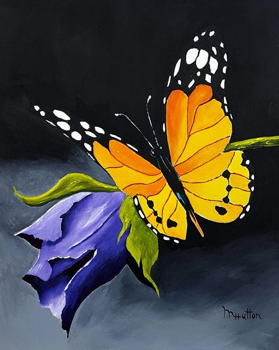 Original Acrylic Painting Butterfly And Flower Art Insect Art